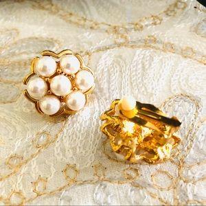 Pearl clip on earrings- new